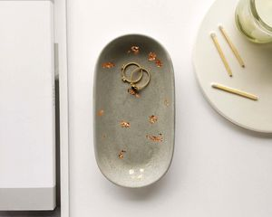 Oval Copper And Concrete Trinket Dish