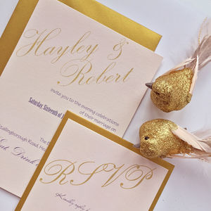 Blush And Gold Wedding Invitation - gifts for him