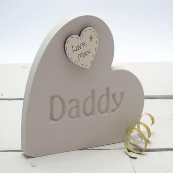 Personalised Father's Day Etched Wooden Side Heart