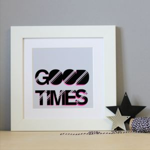 Good Times Typographic Framed Print - whatsnew
