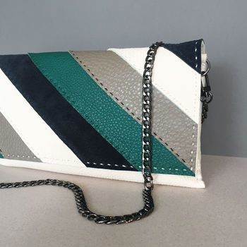 Erin Leather Clutch Jade Stripe