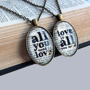 'All You Need Is Love' Literary Necklace