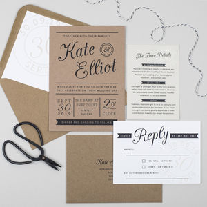 Kraft Stamp Wedding Invitation - invitations