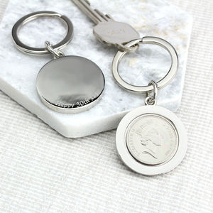 Personalised 30th Birthday 1988 Five Pence Keyring