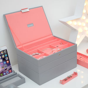 Dove Grey With Coral Classic Jewellery Box - jewellery storage & trinket boxes
