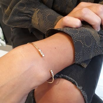 Gold Baguette and Bezel Bangle by Scream Pretty