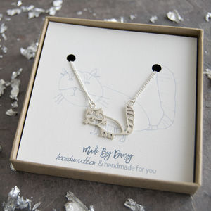 Personalised Pet Portrait Necklace From Childs Drawing