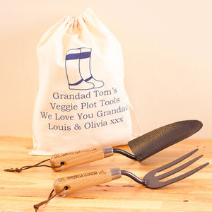 Personalised Garden Trowel And Fork Set - gifts for him
