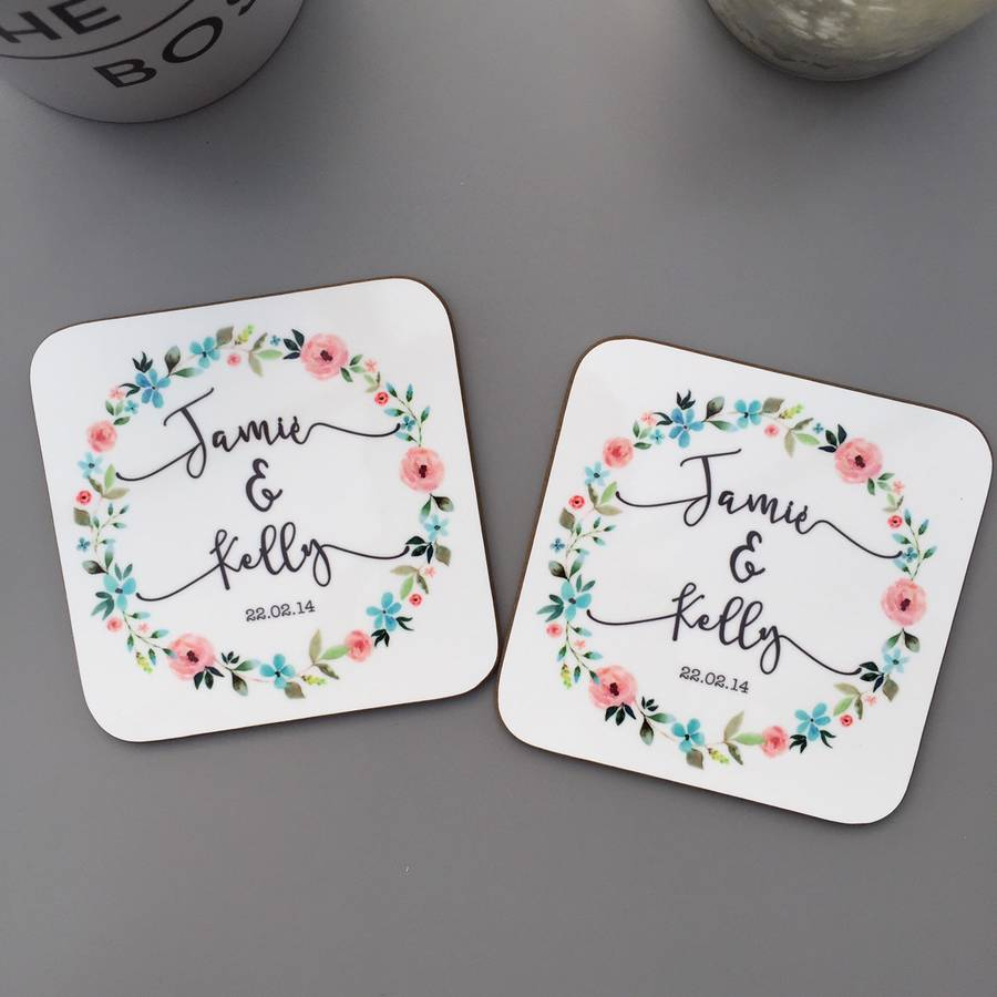 Personalised Wedding Floral Coasters By Koko Blossom