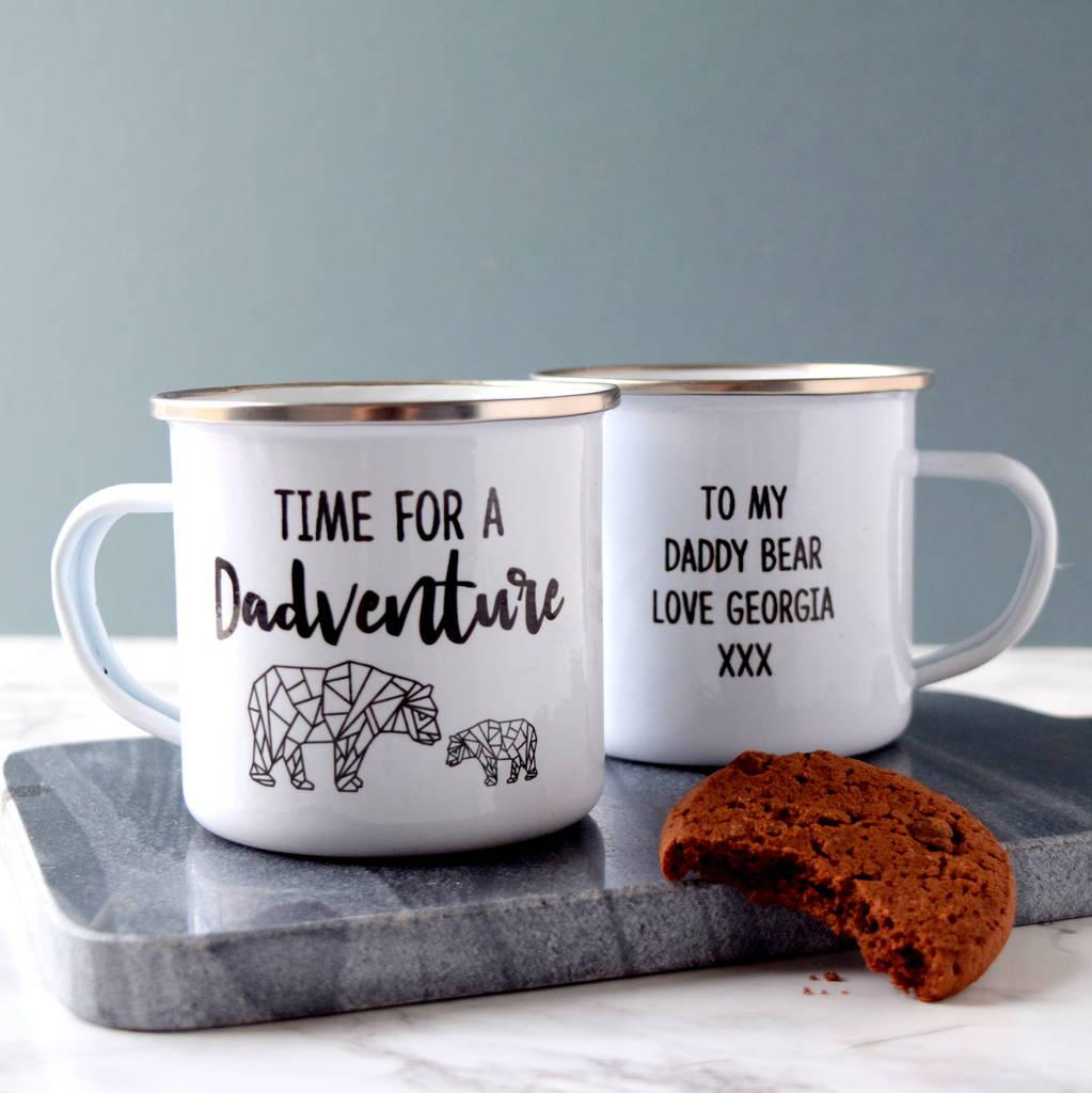 Personalised Time For A Dadventure Enamel Mug
