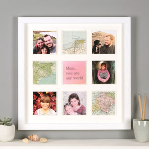 Personalised Map Photo Frame Print For Her - photography & portraits