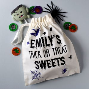 Personalised Trick Or Treat Sweets Bag