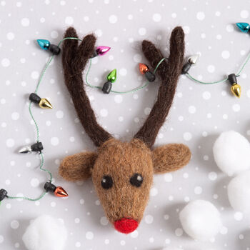 Rudolph The Reindeer Brooch Needle Felting Craft Kit