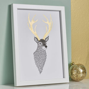 Stag Print With Handpainted Antlers - gifts for him