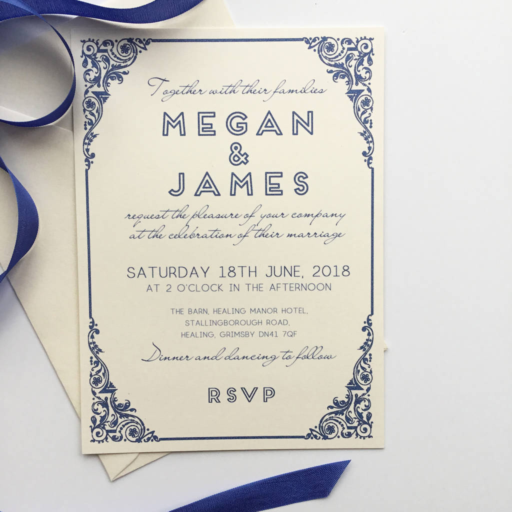 traditional wedding invitation with art deco border by claryce ...