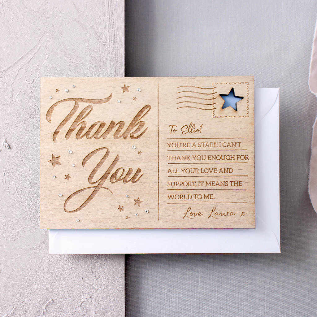 Personalised Thank You Wooden Post Card By No Ordinary