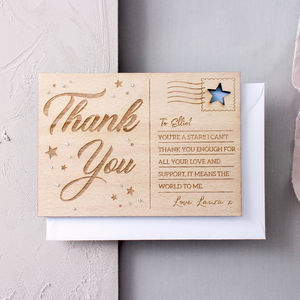 Personalised 'Thank You' Wooden Post Card - thank you cards