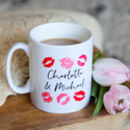 Personalised Valentines Day Mug With Lipstick Kisses