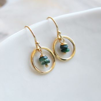 Emerald Gold Circle Earrings