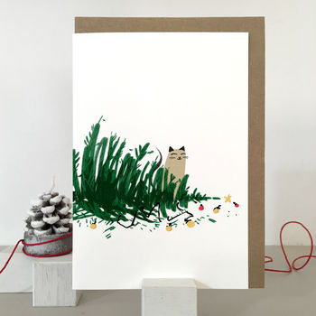 Naughty cat christmas card