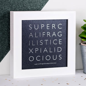 Framed Silver Foil 'Supercali' Iridescent Print - typography
