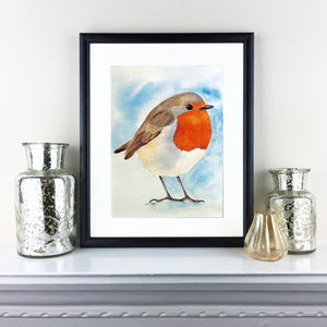 Original Watercolour Christmas Robin Painting - paintings