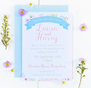 Summer Flower Evening Wedding Reception Invitation