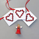 Cranberry Heart Christmas Gift Tags