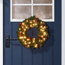 Pre Lit Outdoor Artificial Christmas Berry Wreath
