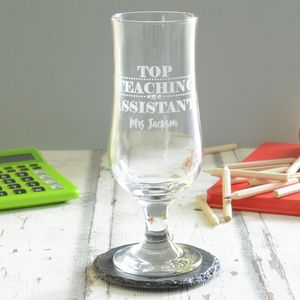 Top Teaching Assistant Personalised Glass