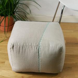 Natural Linen Asysmetric Pouffe - footstools & pouffes