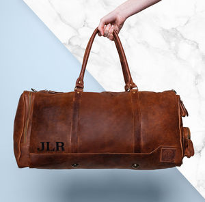 Personalised Leather Columbus Deep Weekender Holdall - mens