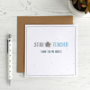 Star Teacher, Personalised Card - teacher cards