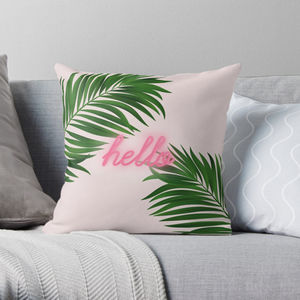 Green Palm Print Cushion