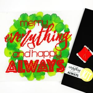 'Merry Everything' Modern Cross Stitch Kit