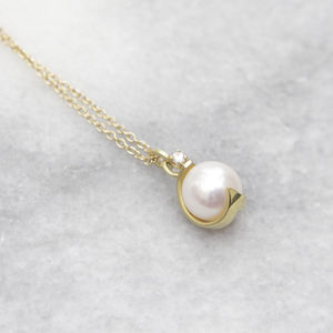 18ct Gold, Diamond And Pearl Charleston Pendant - necklaces & pendants