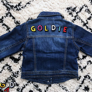 Kids Personalised Denim Jacket Rainbow Letters - gifts for children