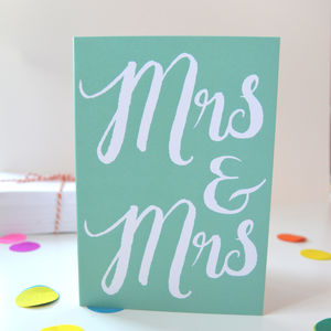 Mrs And Mrs Congratulations Card For Lesbian Weddings - wedding cards & wrap