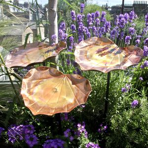 Copper Heart Birdbath Sculpture - gardener