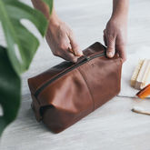 Leather Wash Bag - anniversary gifts
