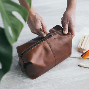 Leather Wash Bag - men's grooming & toiletries
