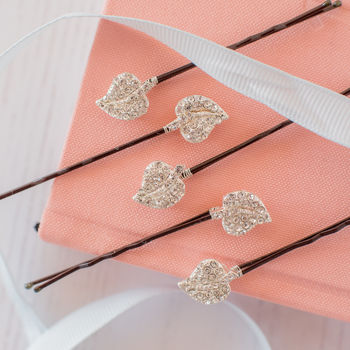 Set Of Five Diamante Leaf Hair Pins