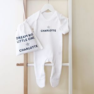 Personalised 'Dream Big' New Baby Gift Set - clothing