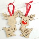 Double Sided Oak Reindeer Couple Tree Decoration