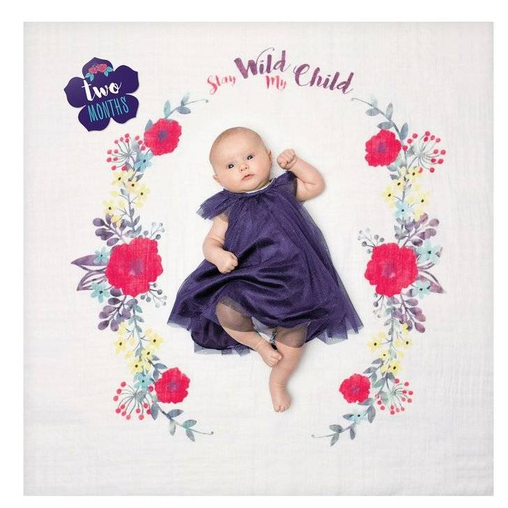 Stay Wild Floral Baby's First Year Photography Blanket