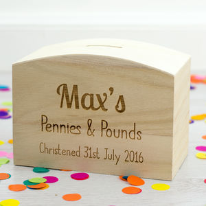 Personalised Christening Gift Money Box - what's new