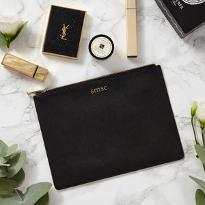 Monogram Real Leather Pouch - clutch bags