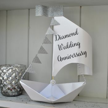 Diamond 60th Anniversary Sail Boat Card