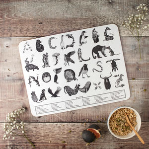 Large Animal Alphabet Children's Placemat