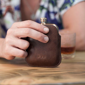 Copper Hip Flask With Personalised Leather Sleeve - gifts for fathers